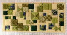 Canvaswork (needlepoint) with rhodes stitch and waffle (norwich) stitch