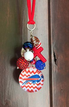 Buffalo Bills Car Charm For Rearview Mirror Cute Accessories Women Bling Decor Red White Blue New York Football Beads Crystals Cross