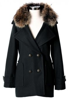 Fur Collar Double Breasted Coat in Black