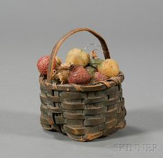 Small Green-painted Splint Basket Filled with Wax Strawberries | Sale Number 2468, Lot Number 89 | Skinner Auctioneers