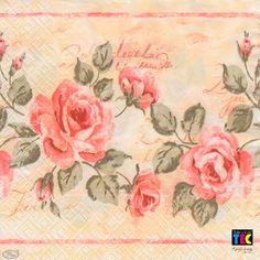 Guardanapo para Decoupage Toke e Crie – 15463 – Rosas e Escritas (com 02 unidades) - CasaDaArte