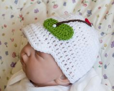 BABY GOLF BEANIE Crocheted Peaked Cap Hat Girls or Boys Photo Prop in Soft White Yarn Size Preemie, Newborn, 0-3, 3 Months by Grandmabilt on Etsy