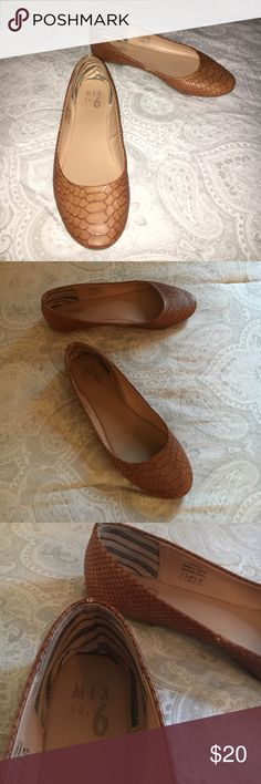 Alligator print brown flats Flats only worn once - size 5.5 brand mix no. 6 from DSW. Really comfy and easy to walk in. In almost perfect condition and have so much life left in them! Make me an offer! Mix No. 6 Shoes Flats & Loafers