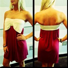 Crimson and cream bow dress $34 s.m.l www.royceclothing.com
