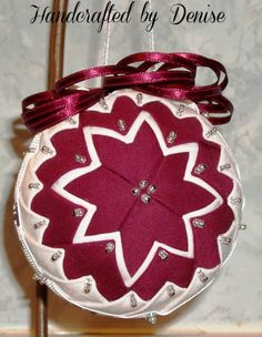 Folded Fabric Ornaments, Quilted Christmas Ornaments, Beaded Ornaments, Ball Ornaments, Christmas Tree Ornaments, Star Ornament, Ornament Crafts, Christmas Crafts, Fabric Balls