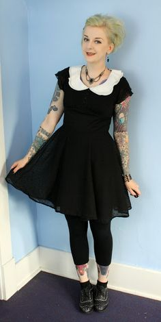 Coffin Kitsch Agnes Dress #hellbunny #goth #retrowithanedge #wednesdayaddams #everydayishalloween