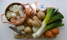 0ne inch scale detailed leek and potato soup preparation boards for dollshouse