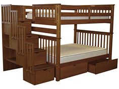 Bedz King Stairway Bunk Bed Full over Full with 4 Drawers in the Steps and 2 Under Bed Drawers, Espresso