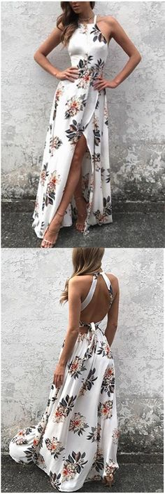 Sleeveless Side Split Back Lace-up Random Floral Print Maxi Dress,Halter Prom Dress,Plus Size Evening Dress,Prom Dresses,HF67