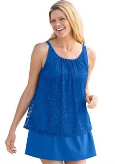 1659304f28e59 Tankini swimsuit in 2 pieces with cutwork overlay by Swim 365®