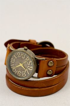 Wrapped Around in Time Leather Watch | three bird nest