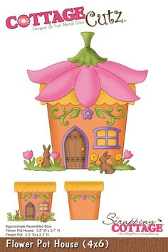 Cottage Cutz-4x6 die - Flower Pot House