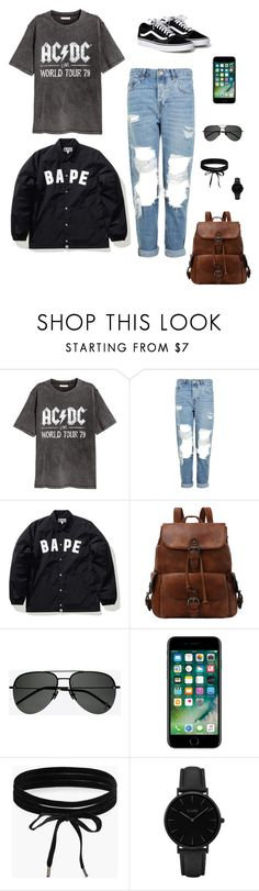 """""""skatepark typa day🤘🏼"""" by foreverblunted ❤ liked on Polyvore featuring H&M, Topshop, A BATHING APE, Yves Saint Laurent, Boohoo and CLUSE"""