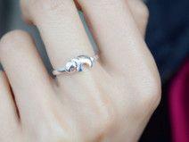 Sterling 925er Silber Ring Elefant