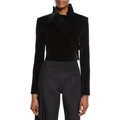 Brandon Maxwell Cropped Velvet Moto Jacket ($2,995) ❤ liked on Polyvore featuring outerwear, jackets, black, biker jacket, rider jacket, motorcycle jackets, velvet jackets and cropped moto jacket