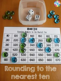 Roll It! Rounding GameThis FREE rounding game worked great in my math centers! The game board for rounding numbers to the nearest ten was perfect practice for my grader. Rounding Games, Rounding Numbers, Math Numbers, Rounding Decimals, Fourth Grade Math, Second Grade Math, Grade 3, Rounding 3rd Grade, Math Stations