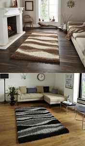 Vista Striped Wave Design Machine Made Rug (Various Colours & Sizes)