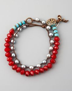 Turquoise, Pearl & Crystal Bracelet, Red by Love Heals at Neiman Marcus.