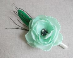 Mint pale green Boutonniere in handmade Grooms by ZBaccessory