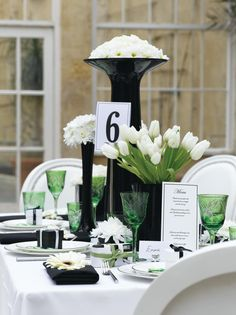 very pretty tablescape, but how do guests see each other to talk?