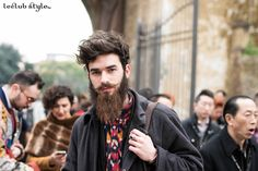 Menswear Street Style by Ángel Robles. Bearded young men, portrait. On the street, The Fortezza, Florence.