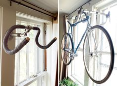 A Creative Way to Hang Up Your Bike via Brit + Co. Repurposed bike handle.