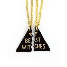 Best Witches Besties Necklace ($26) ❤ liked on Polyvore featuring jewelry, necklaces, chains jewelry, chain necklaces, long necklace, charm necklace and long chain necklace
