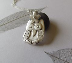 Handcrafted little silver owl pendant