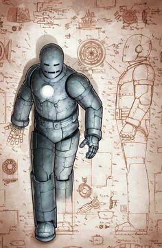 Mark l: Creada por Tony Stark y Yinsen, el traje dejaba la espalda y las rodillas vulnerables. Tenía lanzallamas y un lanzador de misiles, y era capaz de una distancia corta de vuelo antes de estrellarse.