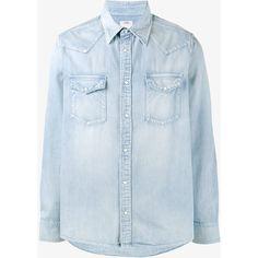 Visvim Albacore Denim Shirt ($695) ❤ liked on Polyvore featuring men's fashion, men's clothing, men's shirts, men's casual shirts and mens denim shirt