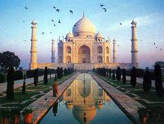 Taj Mahal in Agra, India. Built in the mid 1600's by Emperor Shah Jahan in memory of his third wife, Mumtaz Mahal.