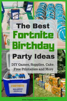 Fortnight Birthday Party Ideas: All You need to Know to throw an unforgetable party. Find Diy bases and games to play including fortnite dancing. Create fun party food with cookies and cakes. Finish up with supply drop party favors and free printables. 13th Birthday Parties, Birthday Party Games, 10th Birthday, Birthday Fun, Birthday Ideas, Party Printables, Free Printables, Nerf Party, Happy Mom