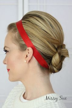 A pop of red is perfect for the holidays! #holidayhair #christmaspartyhair #hairribbon #braidedbun #hairfortheholidays #christmashair