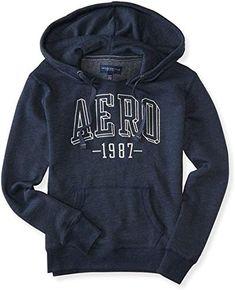 AEROPOSTALE Womens Black Applique Logo Full Zip HOODIE Track Jacket M NEW TAGS