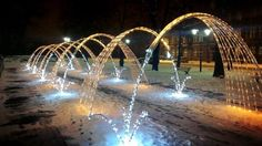 Fountain Light in Pilsudki Aquare City Gliwice by Rafał Żółkiewicz #Winter #Poland #Fountain #Light