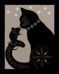 Cat & Mouse In Partnership - 8 X 10 inch Cut Paper Art Print - Natascha - Chat Cat Quilt Patterns, Wool Applique Patterns, Applique Quilts, Pach Aplique, Black Cat Art, Black Cats, Wool Quilts, Cat Mouse, Animal Quilts