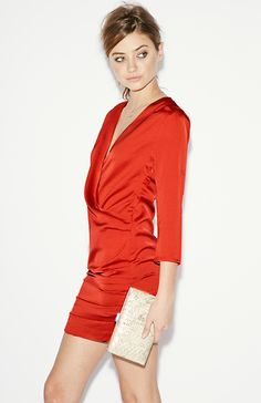 Line & Dot Gianni Ruched Mini Dress in Red coral XS - M | DAILYLOOK