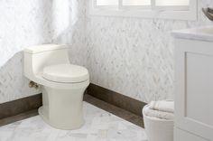 Braided Tiles: Ann Sacks - Benton Braid Calacatta Borghini - Kohler - Flight of Fancy Bathroom