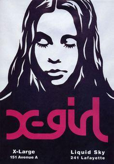 X-Girl (Kim Gordon & Sophia Coppola's hip 90's clothing line) original poster by Mike Mills