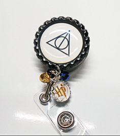 ID Badge Reel - Harry Potter - Retractable ID Badge Holder - Deathly Hallows - Retractable ID Reel - Id Badge Lanyard - Badge Reel, IDR1220