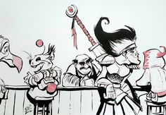 JRPG bartender by basakward.deviantart.com on @DeviantArt Another #latenight #art piece. I always thought it would be tough for the #bartender in a #jrpg.  #drawing #ink #inking #cartoon #videogames #rpg #tavern #bar #fantasy