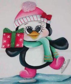 Pingüino con regalo Christmas Yard Art, Christmas Rock, Christmas Drawing, Christmas Paintings, Christmas Clipart, Christmas Printables, Christmas Pictures, Christmas Projects, Christmas Time