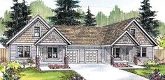 Elevation of Ranch   Multi-Family Plan 69640