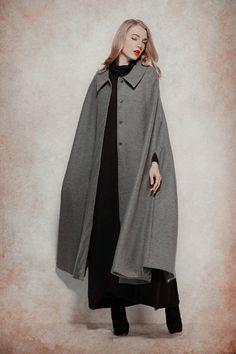 Grey Wool Coat Long Cashmere Coat Wool cape wool by camelliatune