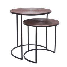 Deco Set/2 Side Tables Antique Copper