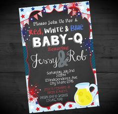 July 4th Red White Blue Baby-Q Invitation - Fourth of July Baby Shower Invite - Independence - Printable or Printed - SHIPPING INCLUDED 4x6