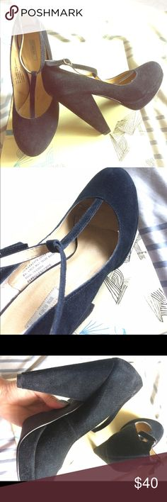 """Kimchi Blue T-Strap Suede Platform Pumps In pretty damn good condition for being 7 years old! Very cute pumps that I would keep but I do go out anymore. I have a 7.5 foot and these fit perfectly even though they say 7. 3/4"""" platform and 4.5"""" heel Urban Outfitters Shoes Platforms"""