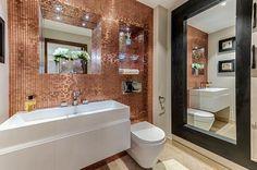 Copper Mosaic Tile Bathroom Wall