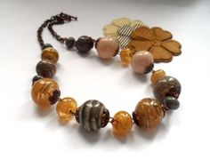 Necklaces. Beaded Jewelry Handmade Lampwork Necklace. Ivory, brown, beige.