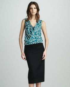 Only $37! DIANE VON FURSTENBERG Womens Gorgeous Black Maribela Wool Skirt sz 10 #shopmodo #modoboutique